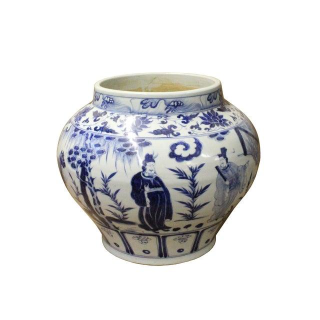 Chinese Blue White Porcelain People Scenery Fat Body Vase Jar - Image 4 of 7