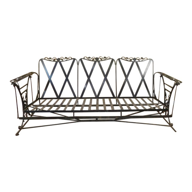 Vintage Lee Woodard & Sons Wrought Iron Glider Sofa For Sale