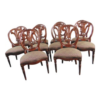 Henredon Mahogany Plume Carved Dining Chairs - Set of 10 For Sale
