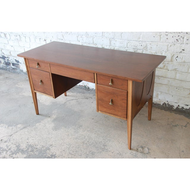 Broyhill Brasilia Broyhill Brasilia Mid-Century Modern Sculpted Walnut Desk For Sale - Image 4 of 14