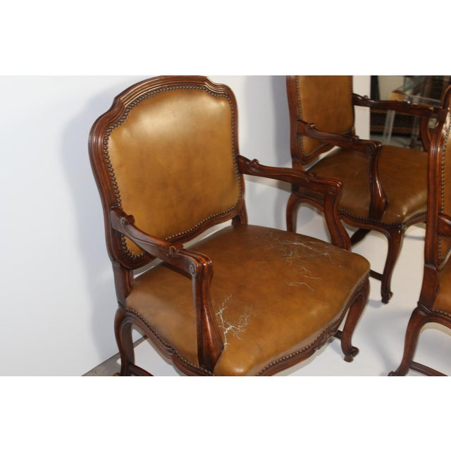 Louis XV-Style Brown Leather Chairs - Set of 3 - Image 3 of 5