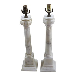 White Marble Column Lamps - a Pair