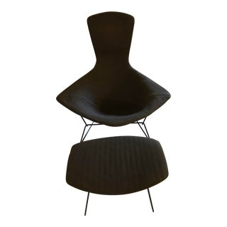 Knoll Harry Bertoia Black Bird Chair and Ottoman For Sale