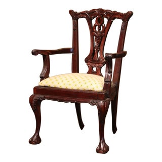 Late 20th Century English Queen Ann Carved Mahogany Child Armchair For Sale