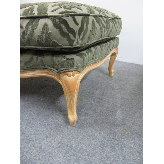 Wood Louis XV Style Pickled Finish Bergere & Ottoman For Sale - Image 7 of 12