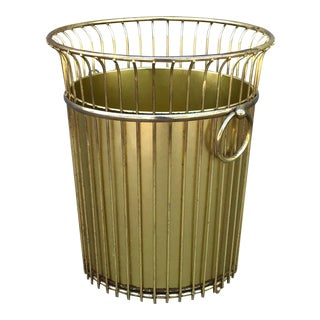 Circa 1970s Gold Waste Basket / Trash Can For Sale