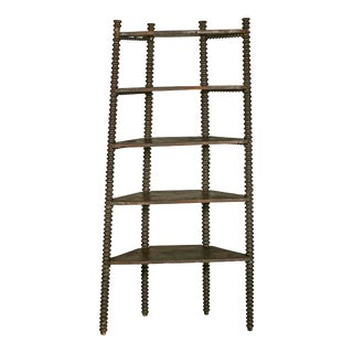 English Barley Twist Corner Shelf For Sale