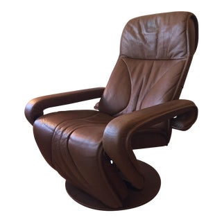Contemporary Danish Design Reclining Chair in Leather
