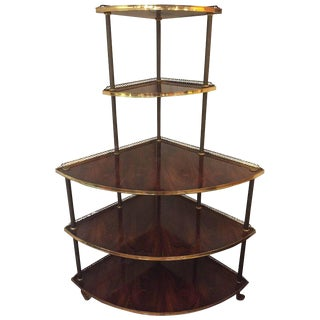 Corner Five-Tier Mahogany & Brass Shelving Unit Étagère