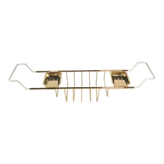 Vintage English Expandable Bath Caddy in Gold Plate For Sale