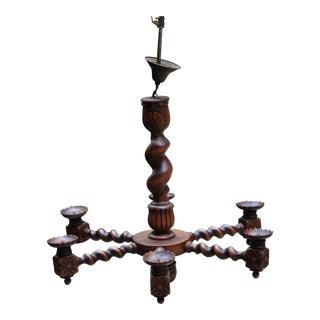 Antique English Oak Large Barley Twist Chandelier Lighting Ceiling Lamp For Sale