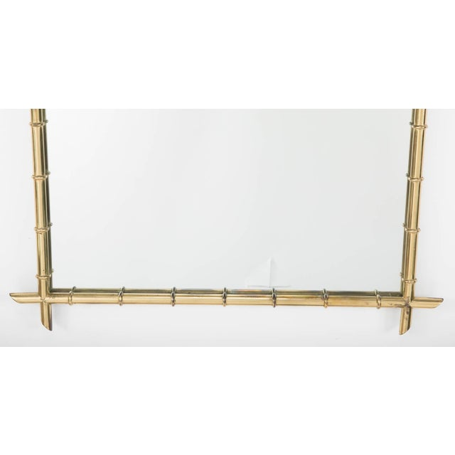 Hollywood Regency Faux Bamboo Brass Mirror For Sale In New York - Image 6 of 8