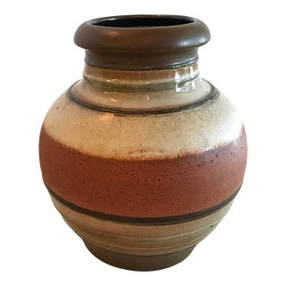 Vintage West German Earth Tone Round Vase For Sale