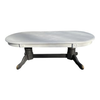 Vintage Rustic Painted Oval Coffee Table For Sale