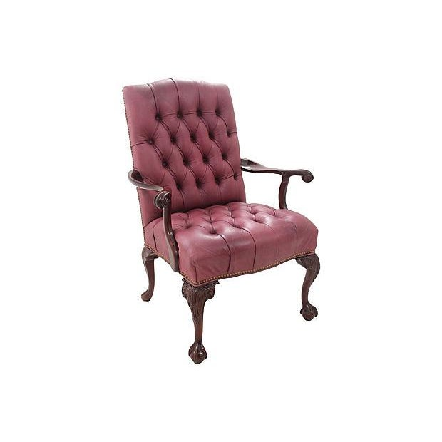 Leathercraft Maroon Tufted Executive Chair - Image 2 of 7