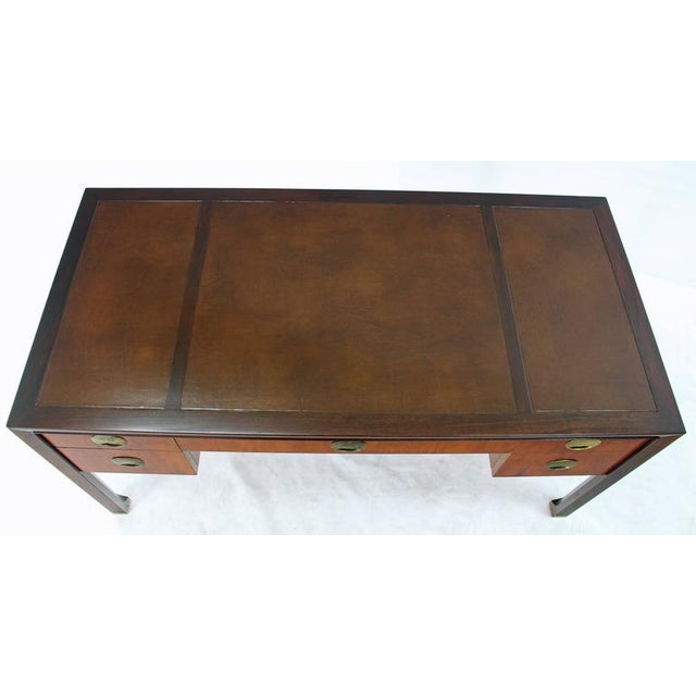 Lacquer Teak Walnut Leather Top Executive Desk by Baker For Sale - Image 7 of 9