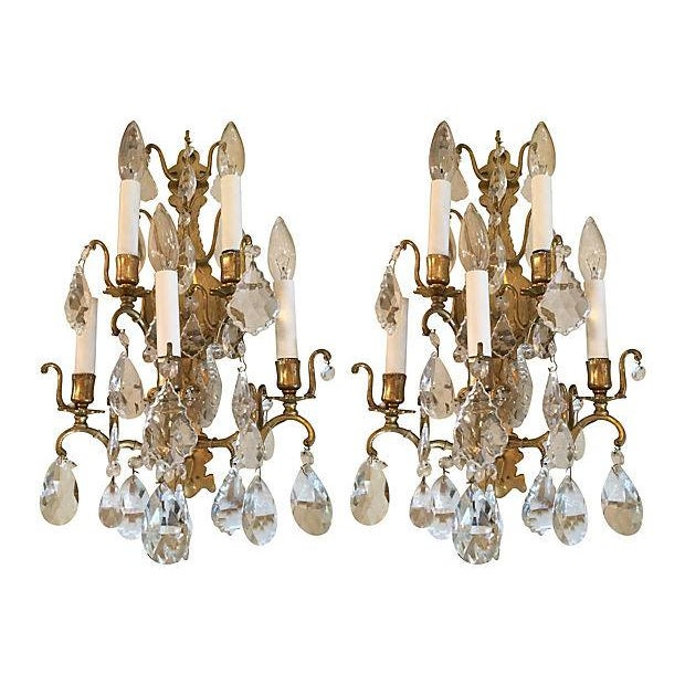 Gold 1940s Italian Crystal & Glass Sconces - A Pair For Sale - Image 8 of 8