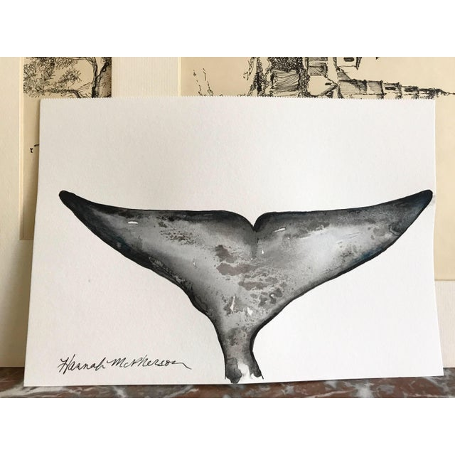 Modern Watercolor Whale Original Painting For Sale - Image 3 of 3