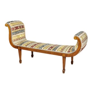 Regency Mahogany and Inlaid Sleigh Form Window Bench For Sale