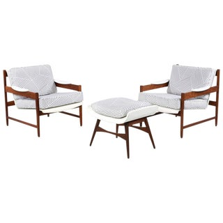 Mid-Century Modern Chairs & Ottoman - Set of 3