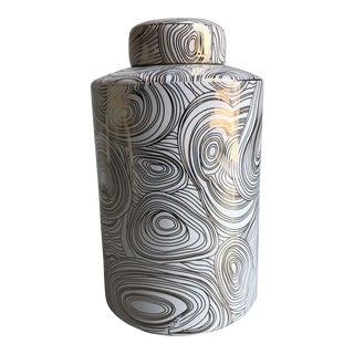 Tozai Home Ceramic Gold Geometric Small Covered Tea Jar