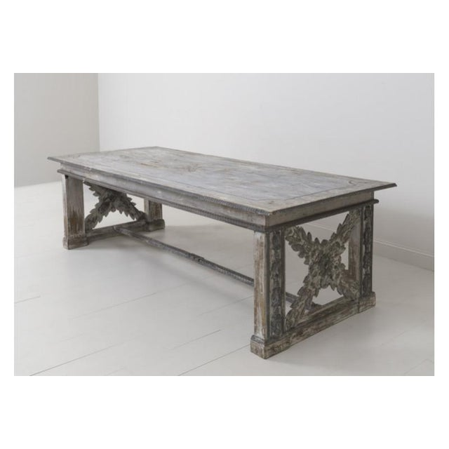 19th Century Large Tuscan Richly Carved Trestle Table For Sale - Image 4 of 11