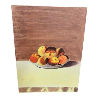 "Mid 20th Century ""Bowl of Fuzzy Peaches"" Still Life Acrylic Painting For Sale"