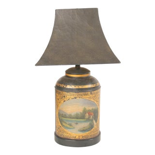 Antique Tole Tea Canister Lamp For Sale