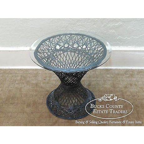 very unusual modern design occasional fiberglass table w/ round glass top. Attributed to Russell Woodard (unmarked)
