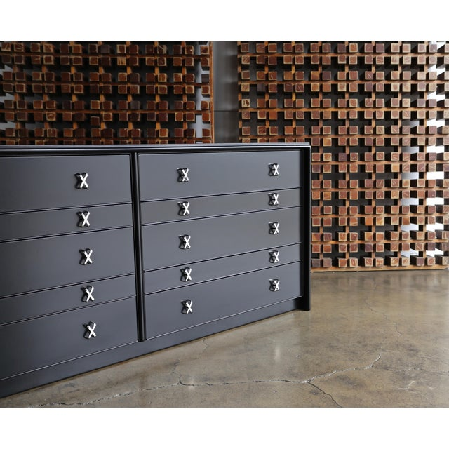 1950s Mid-Century Modern Paul Frankl for Johnson Furniture Company Ebonized Chest For Sale In Los Angeles - Image 6 of 13