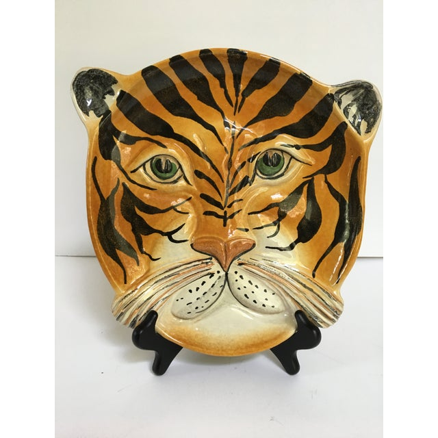 Mid Century Italian Hand Painted Striped Tiger Platter For Sale - Image 4 of 13