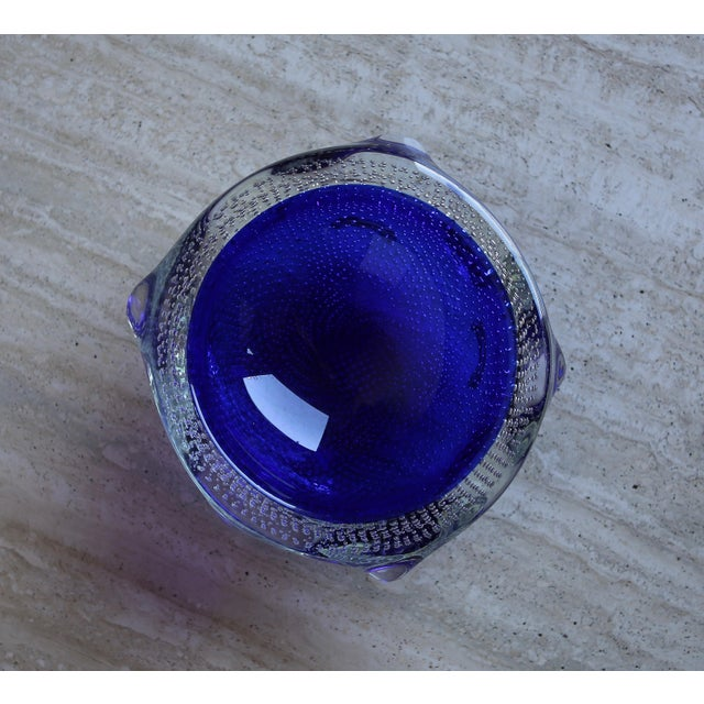 1960s Sculptural Blue Murano Art Glass Bowl For Sale In Los Angeles - Image 6 of 8