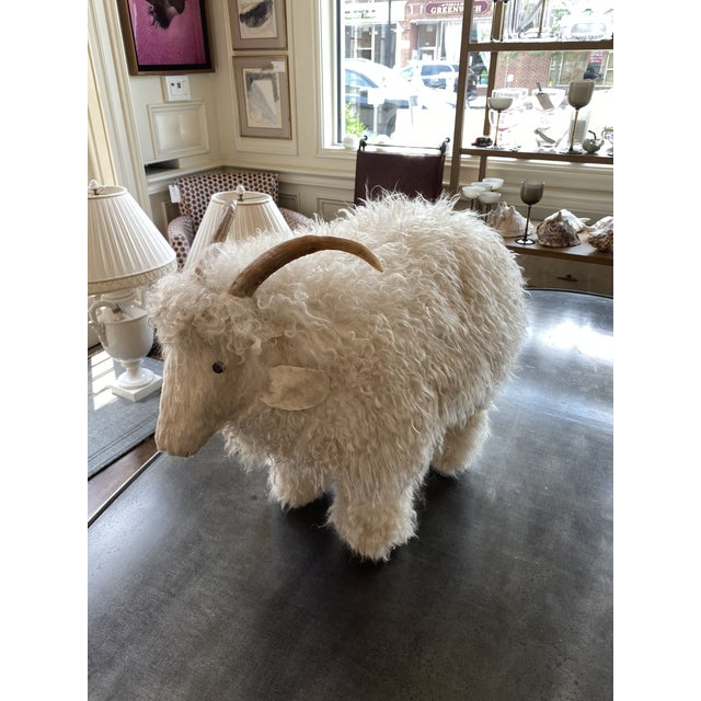 This is a darling and rare sheep sculpture attributed to Claude Lalanne. Made in the 60s of genuine sheepskin, horns with...