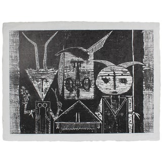 "Seymour Tubis ""Pueblo Ceremonial Trio"" Black & White Woodblock Print, Circa 1968 Circa 1968 For Sale"