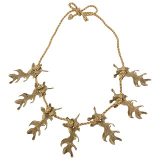 Mary McFadden Bronze and Silk Braided Rope Couture Sculptural Necklace For Sale