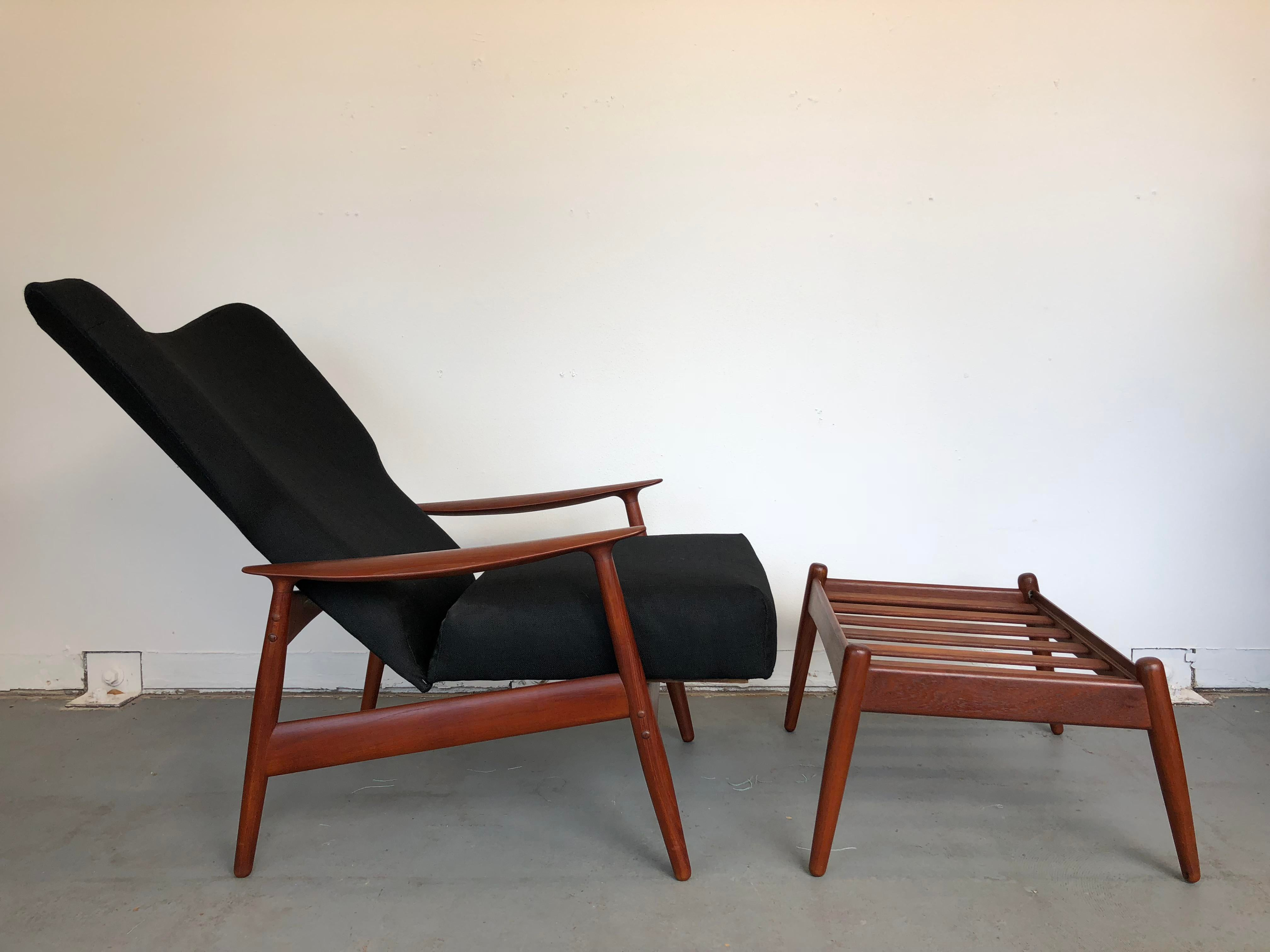 1960s Danish Modern Reclining Lounge Chair And Ottoman 2 Pieces