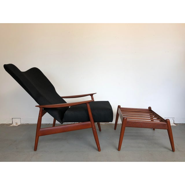 Adolf Relling and Rolf Rastad 1960s Danish Modern Reclining Lounge Chair and Ottoman - 2 Pieces For Sale - Image 4 of 13