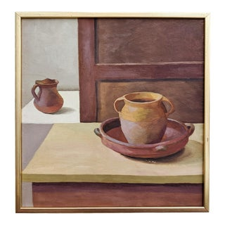 """Mid 20th Century """"Vessels"""" Still Life Oil Painting, Framed For Sale"""