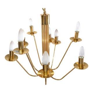 Stilkronen Mid-Century Modern Nine Lights Gold Plate & Brass Chandelier Italy For Sale