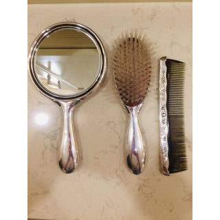 Mirror, Comb and Brush Vanity Set (Vintage Silver-Plate Gorham) Delicately Engraved Preview