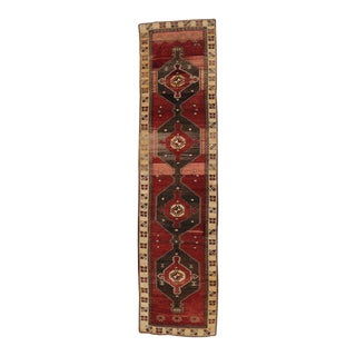 Vintage Turkish Oushak Runner with Mid-Century Modern Style, Hallway Long Runner