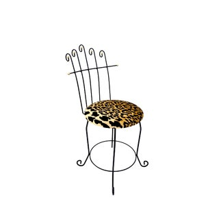 Vintage Hollywood Regency High Back Vanity Chair || Leopard Velvet Upholstery || Glam Black & Gold Metal Mid-Century Accent/Boudoir Chair For Sale