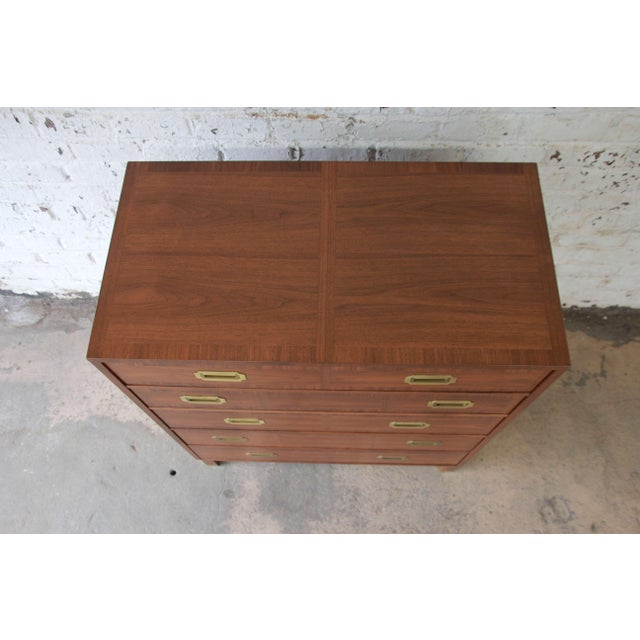 Baker Furniture Milling Road Campaign Style Highboy Dresser For Sale - Image 10 of 10