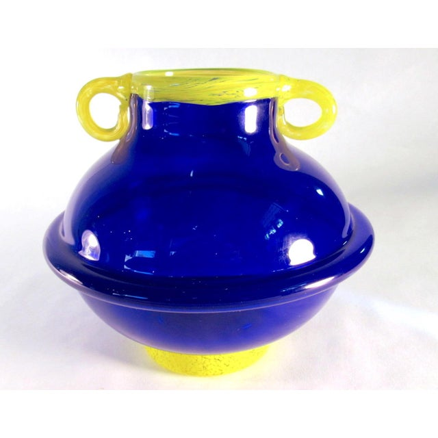 Vintage Signed Cobalt and Yellow Art Glass Amphora Vase For Sale - Image 4 of 11