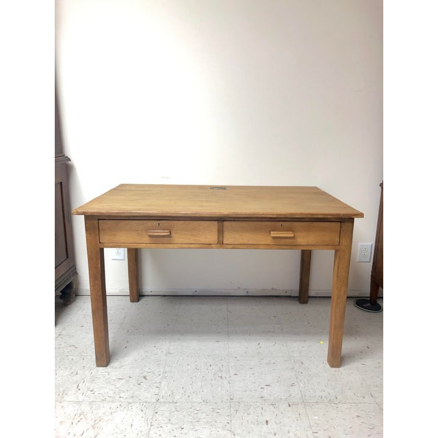 Antique Country Farm Table / Desk With Two Drawers For Sale - Image 13 of 13