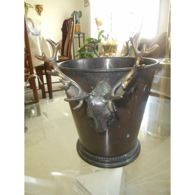 Vintage Bronze Ice Bucket with Stag Handles - Image 5 of 6