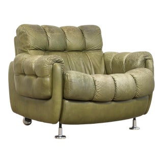 Vintage Mid Century Green Leather Lounge Chair in the Style of Percival Lafer, 1970s, Matching Sofa Available For Sale