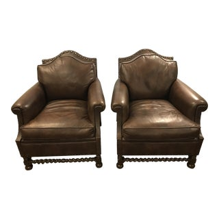 Brown Leather Chairs - A Pair