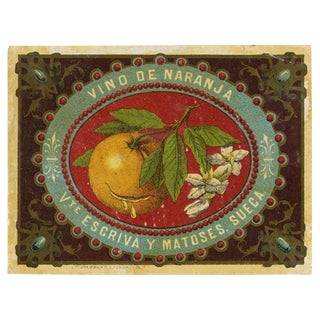 Vintage Spanish Orange Wine Label Print