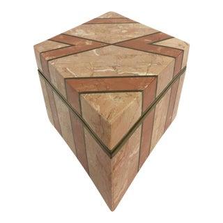 Diamond Shaped Stone & Brass Inlaid Box